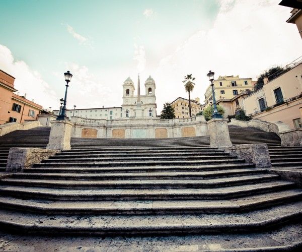 Close View Of The Spanish Steps In Rome