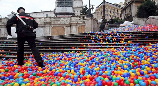 Colorful Bouncing Balls On The Spanish Steps