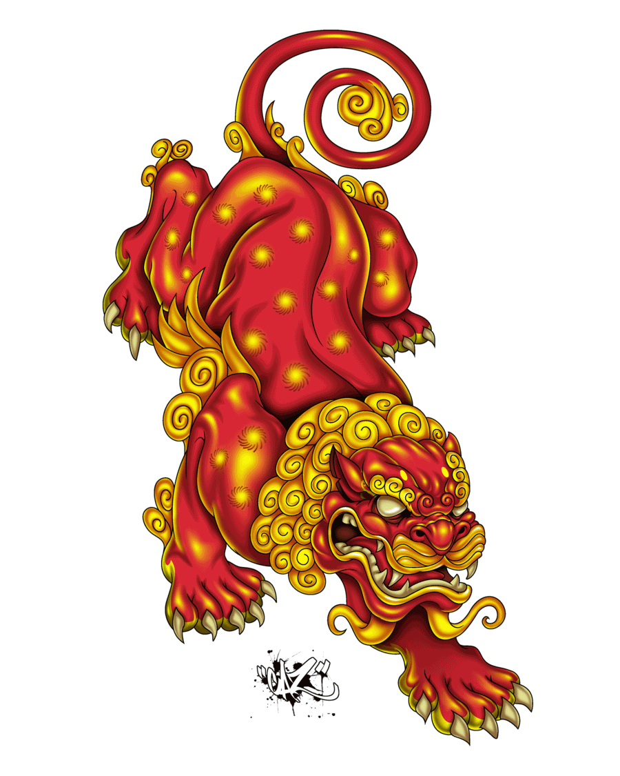 8b3be0f850649 Colorful Japanese Lion Tattoo Design by CaziTena on DeviantArt