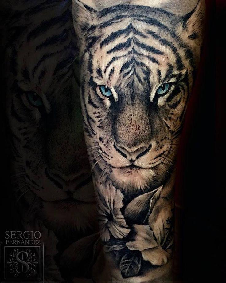 Cool Blue Eyed Grey Ink Tiger Flowers Tattoo By Sergio Fernandez