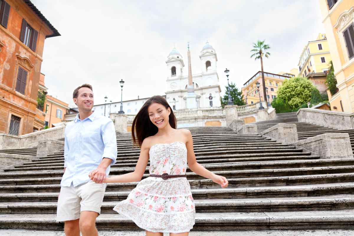 Couple Walking Down To The Spanish Steps In Rome