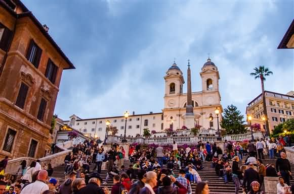 Crowd At The Spanish Steps During Dusk