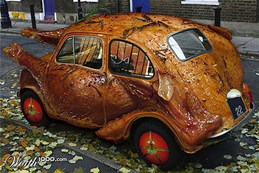 funny chicken themed car