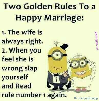 Golden Rules To A Happy Marriage Funny Picture