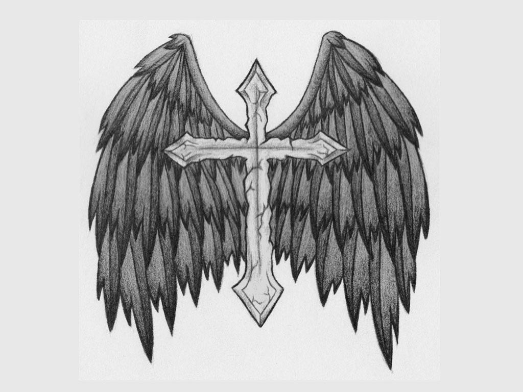 Grey Ink Angel Wings With Cross Tattoo Design
