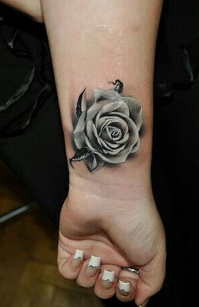 21 small rose tattoo on wrist designs images for Small black rose tattoo