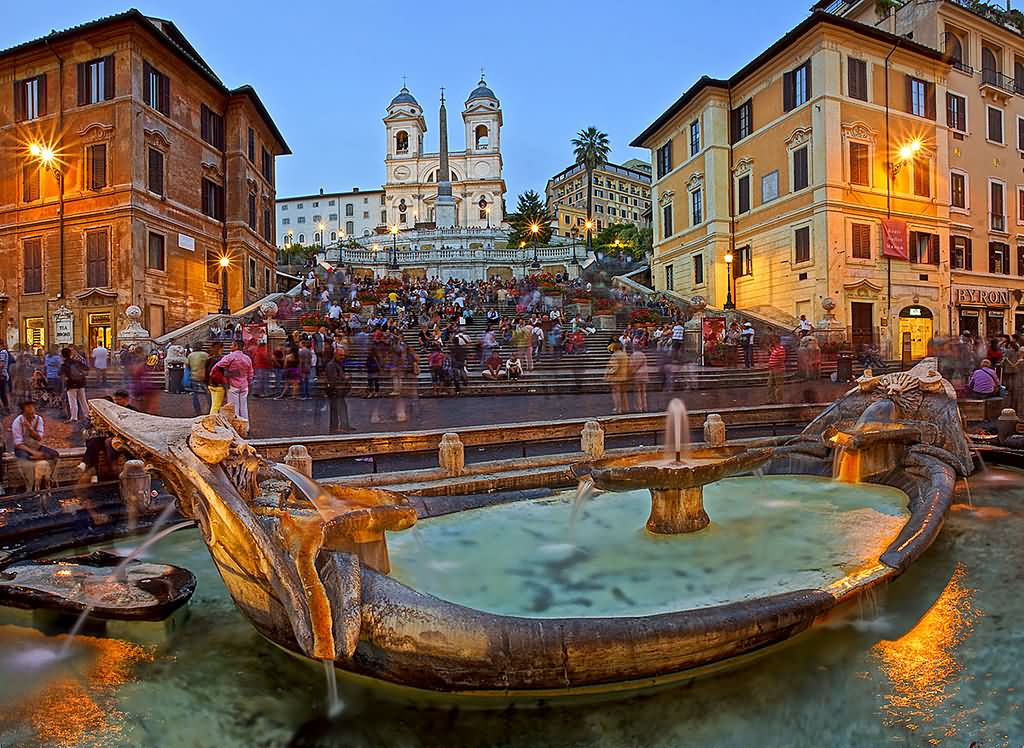 Incredible View Of The Fountain On The Foot Of Spanish Steps