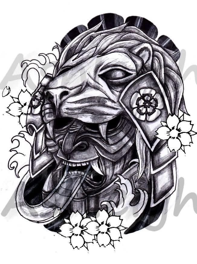 japanese lion mask tattoo design by tattoosbyashleigh. Black Bedroom Furniture Sets. Home Design Ideas