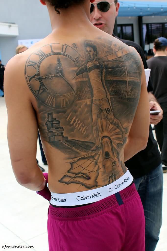 Leroy Sane's Full Back Tattoo