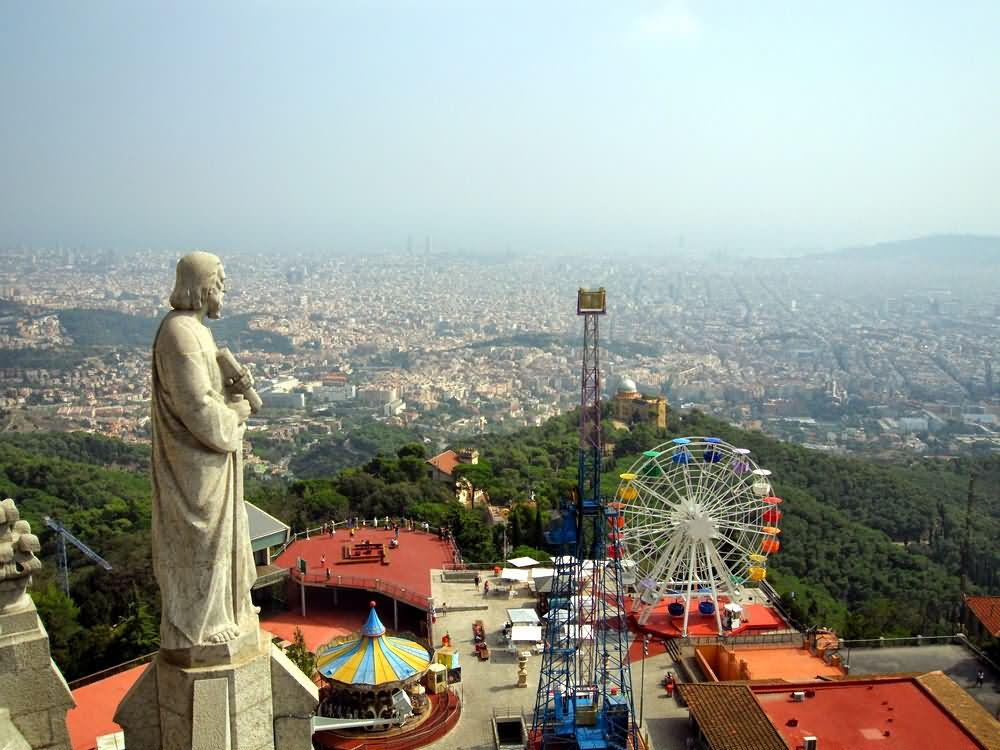 Looking To The Mediterranean From The Church On Tibidabo hill