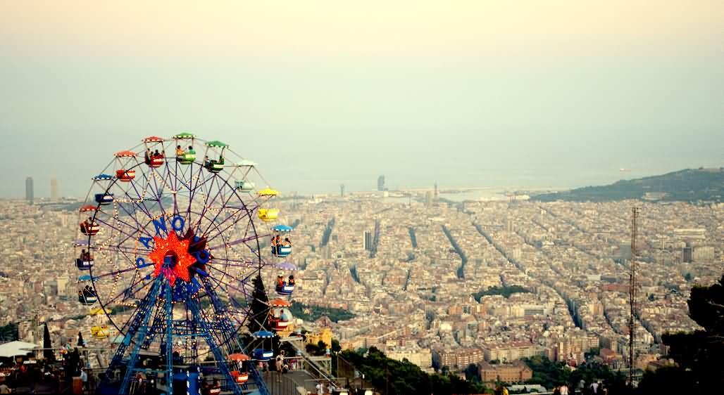 Merry Go Round And Tibidabo City View From The Tibidabo Hill
