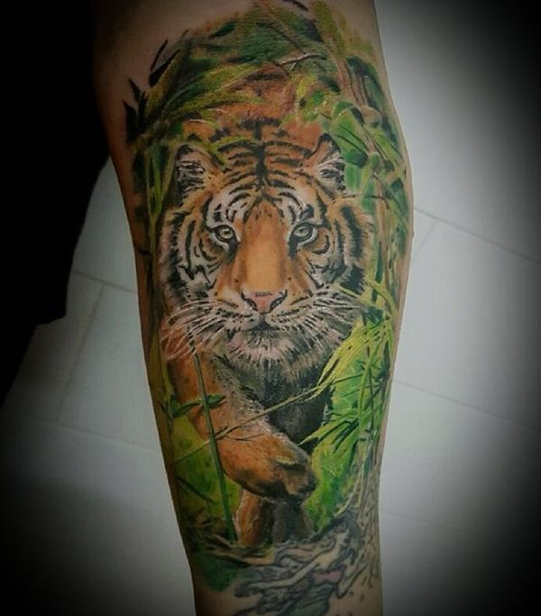 Underarm Tattoos Designs Ideas And Meaning: Realistic Tiger In Jungle Tattoo On Arm