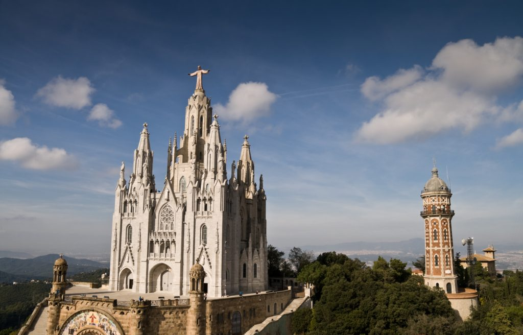 Sagrat Church At The Tibidabo Hill In Barcelona, Spain