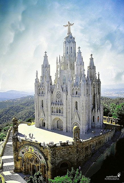 Sagrat Cor At The Tibidabo Hill In Barcelona, Spain