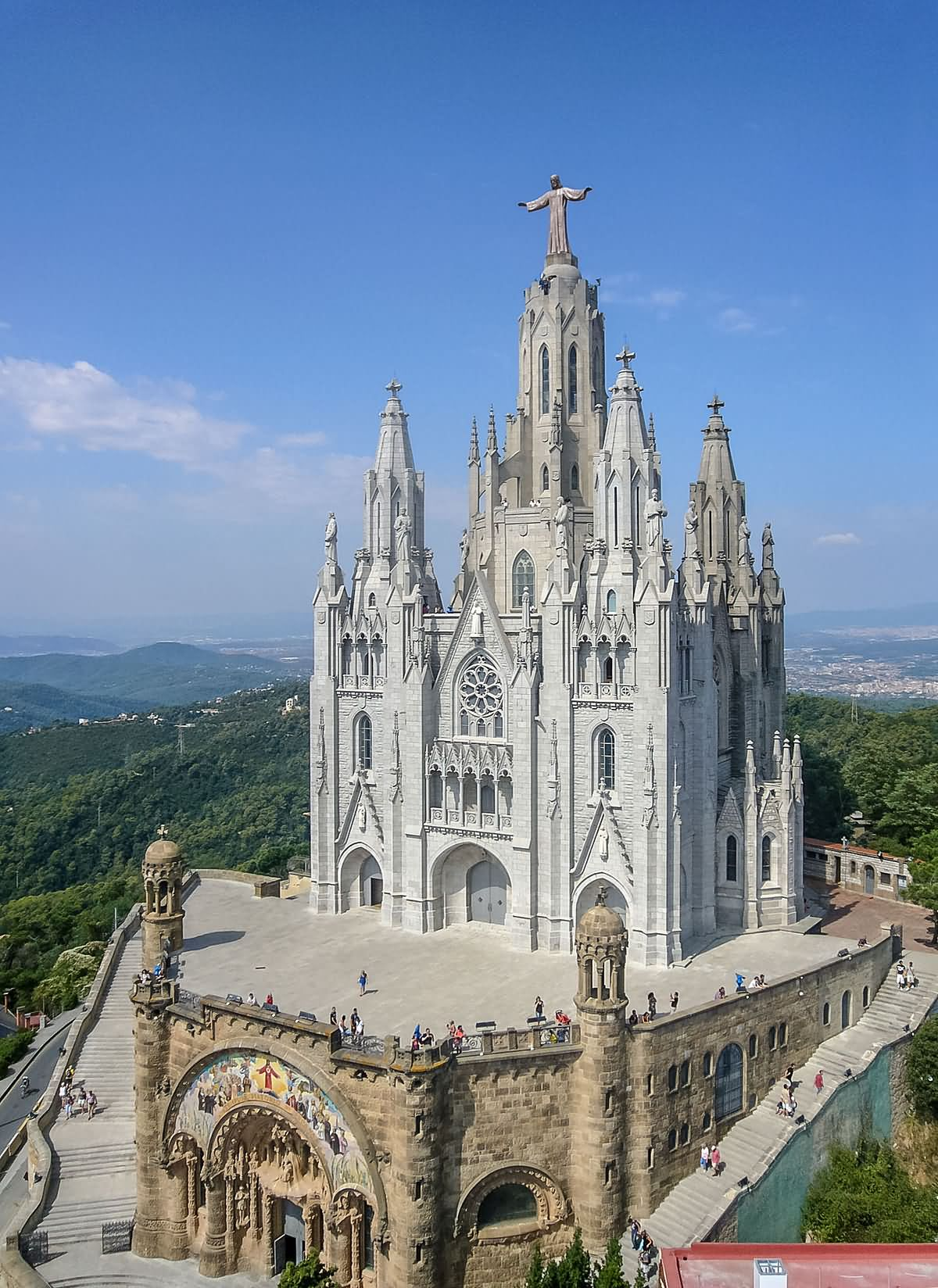 Sagrat Cor Church At Tibidabo hill In Barcelona