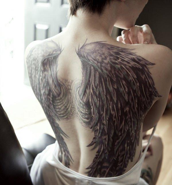 f8d63e32ada5f Sexy Fallen Angel Wings Tattoo On Girl's Back