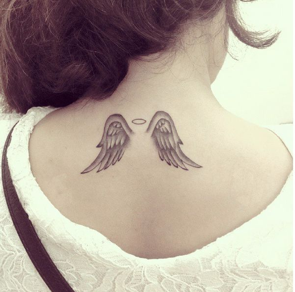 Small Angel Wings With Halo Tattoo On Upper Back For Girls