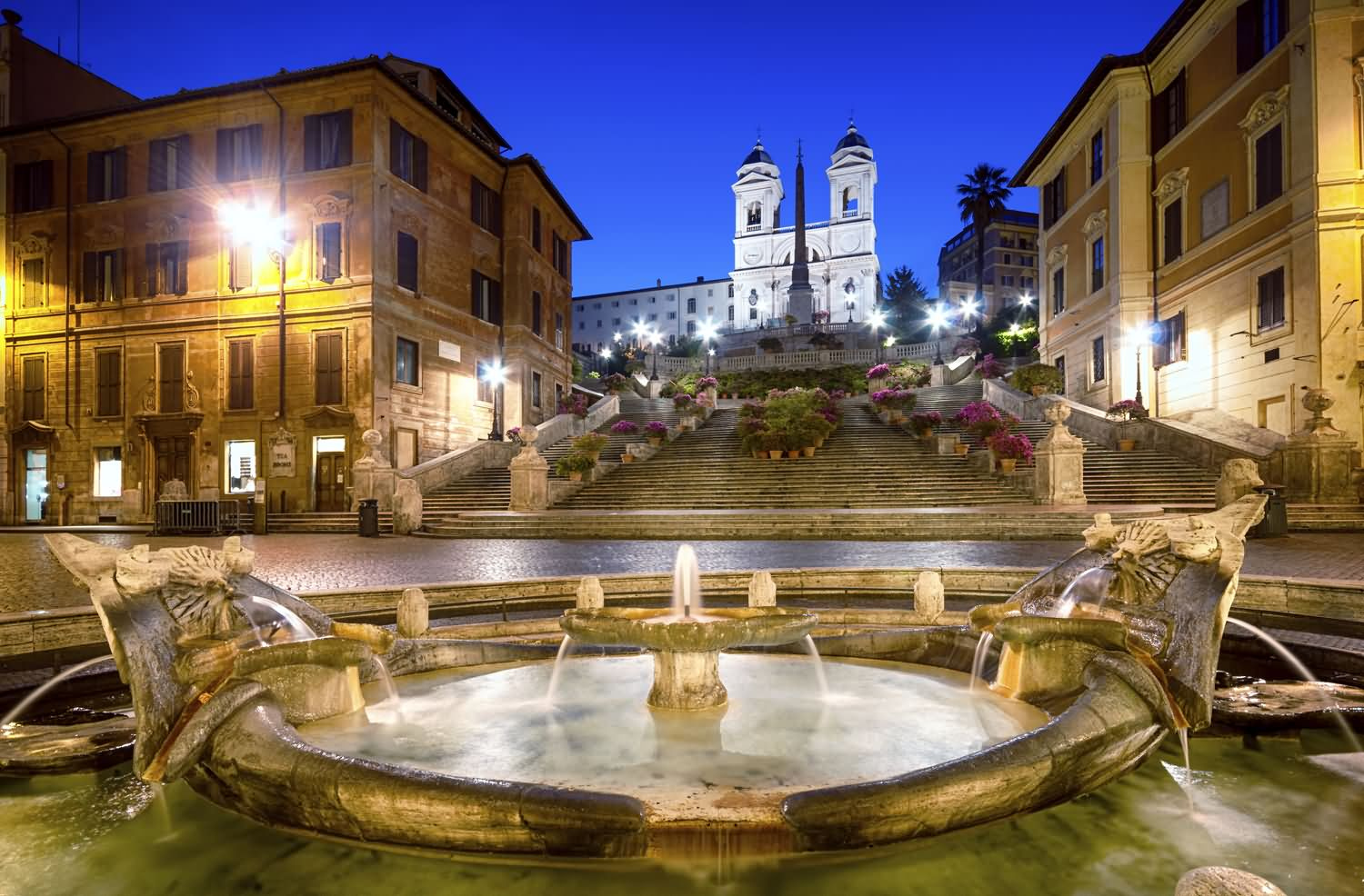 Spanish Steps And Fountain At Night