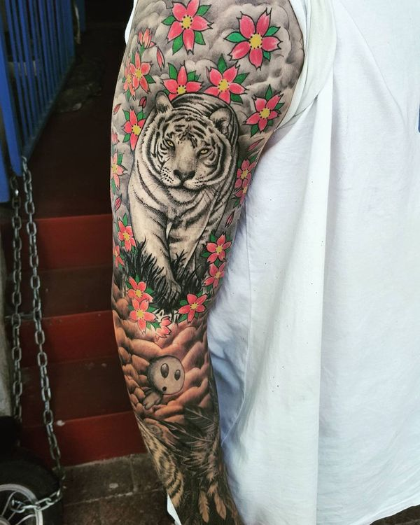 100 Tiger Tattoo Designs For Men: White Tiger With Flowers & Valley Tattoo On Full Sleeve