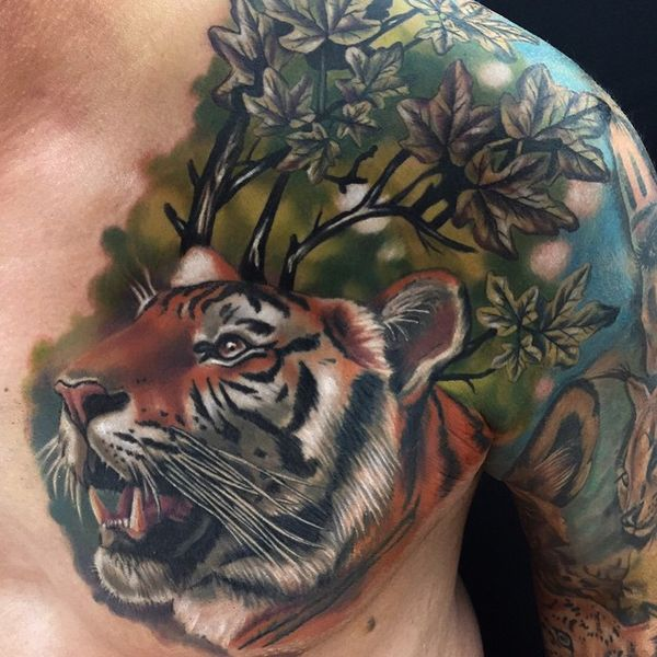 c3ae9ac658680 Wonderful Composition Of Jungle & Tiger Head Tattoo on Chest & Shoulder