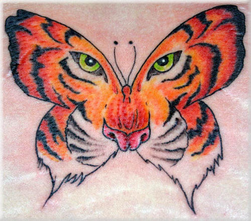 Amazing Colored Tiger Butterfly Tattoo Design