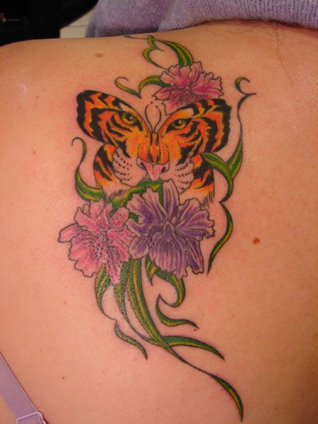 91fc0b9a8 Amazing Girly Tiger Butterfly Tattoo With Flowers On Back Shoulder