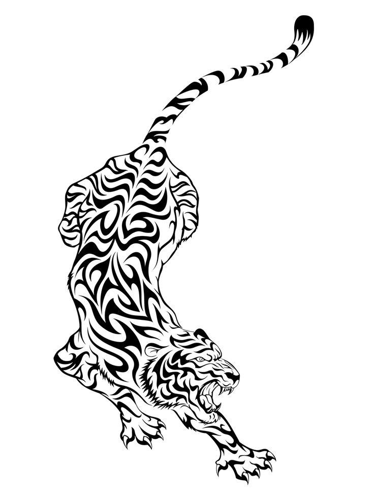 Amazing Tribal Running Tiger Tattoo Design Stencil
