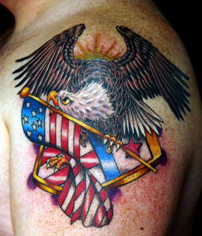 95 Bald Eagle With American Flag Tattoos Amp Designs With