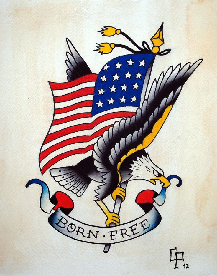 c9475db43 American Traditional Eagle & Flag Tattoo Design With Lettering – Born Free