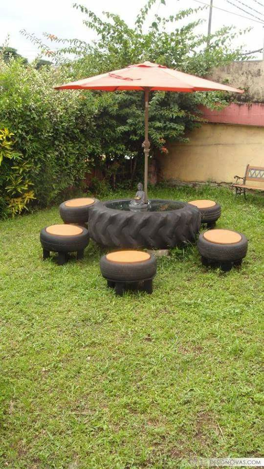 An Amazing Innovative Recycled Tires Garden Seating Concept