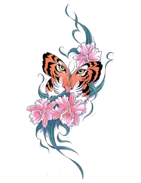 Astonishing Tiger Butterfly With Flowers Tattoo Design
