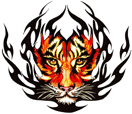 Awesome Composition Of Tribal & Tiger Face Tattoo Design