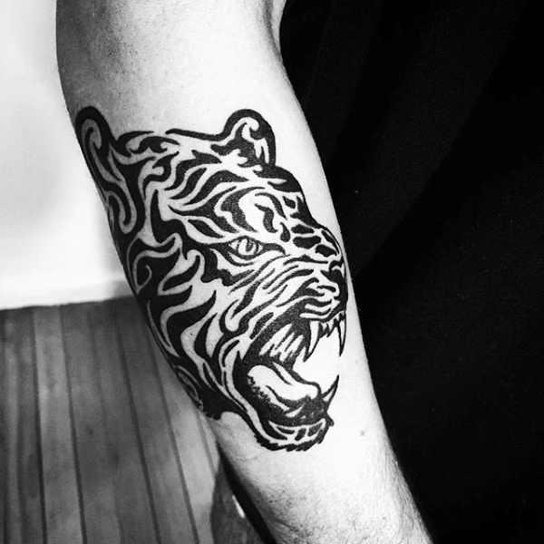 7b4797e6b Awesome Tribal Tiger Head Tattoo Design On Outer Forearm For Men
