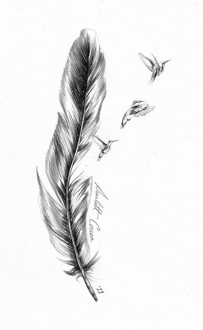 Black Grey Bald Eagle Feather Tattoo Design