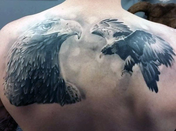 Black And Grey Eagle Tattoo Designs