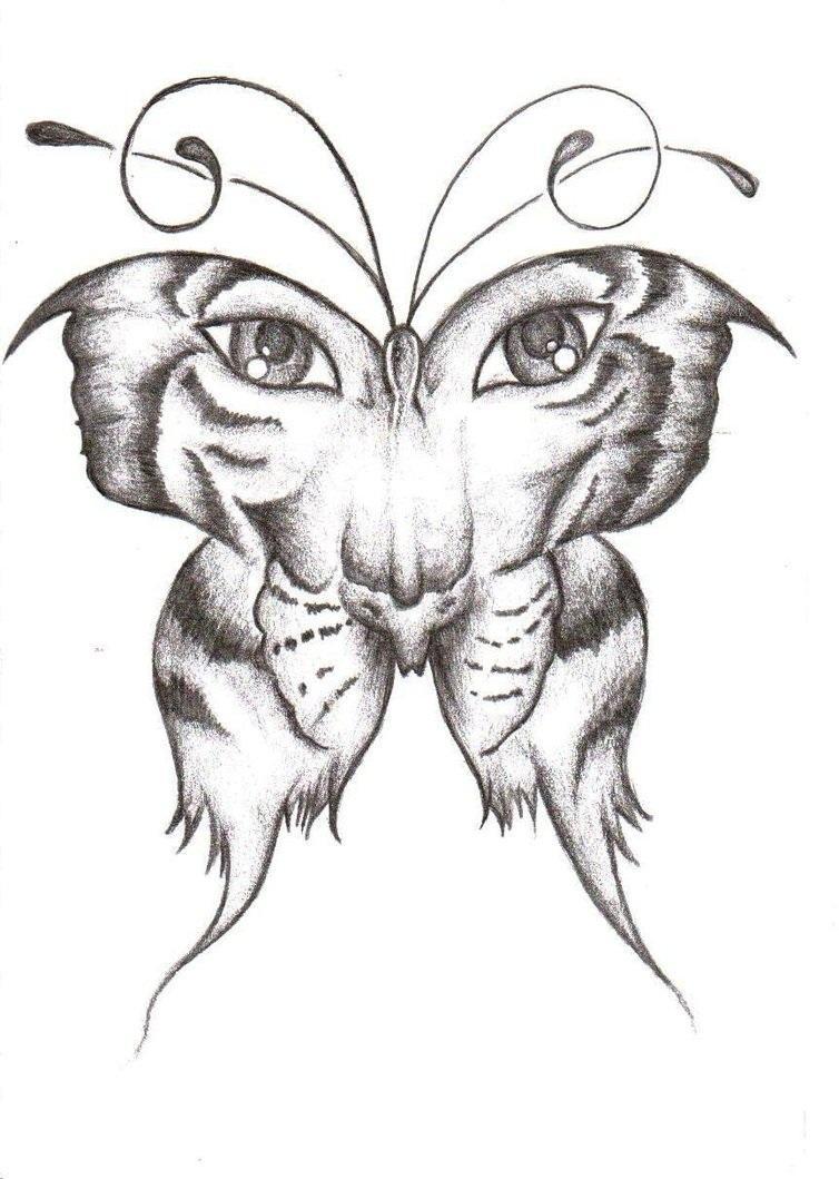 Black White Tiger Butterfly Tattoo Design By Joycesun