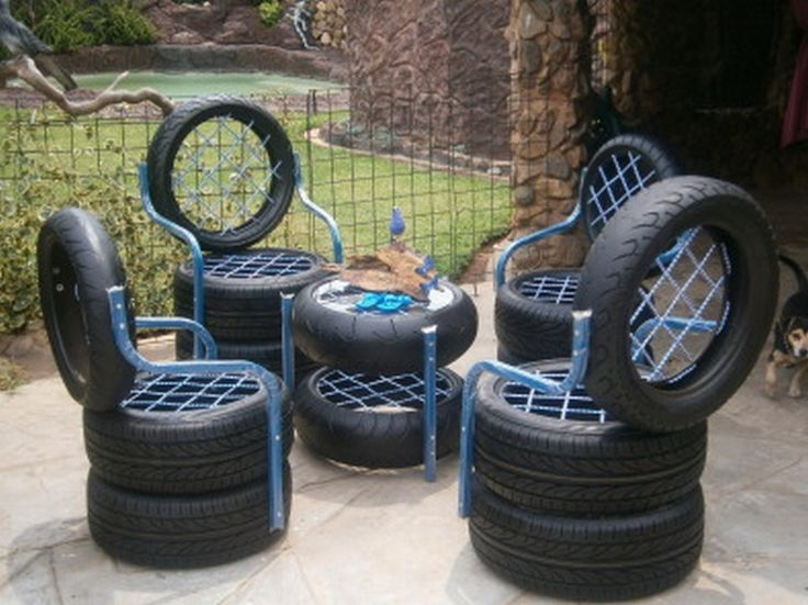 chairs table made from old used tires