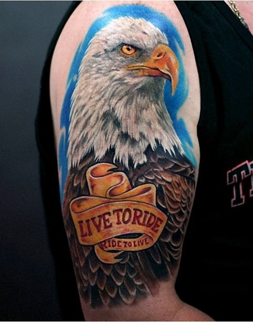 colored bald eagle head tattoo on shoulder with lettering live to ride ride to live. Black Bedroom Furniture Sets. Home Design Ideas