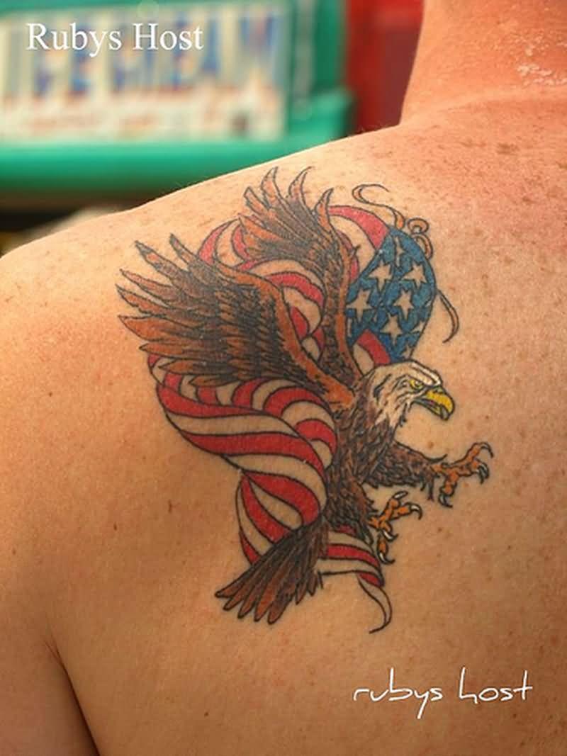 Eagle flag tattoo shoulder - photo#37