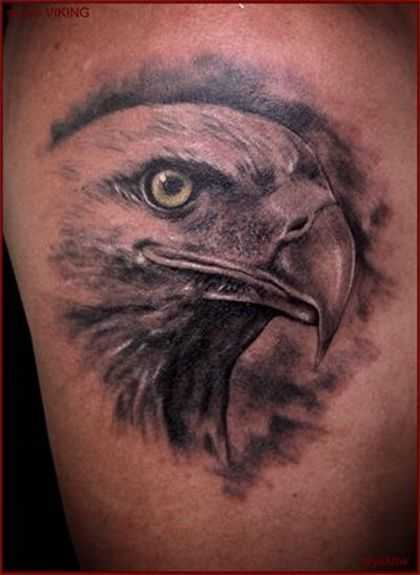 grey ink bald eagle head tattoo design. Black Bedroom Furniture Sets. Home Design Ideas