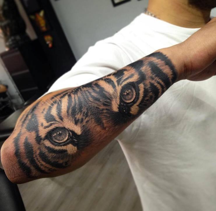 grey ink realistic tiger eyes tattoo outer forearm. Black Bedroom Furniture Sets. Home Design Ideas