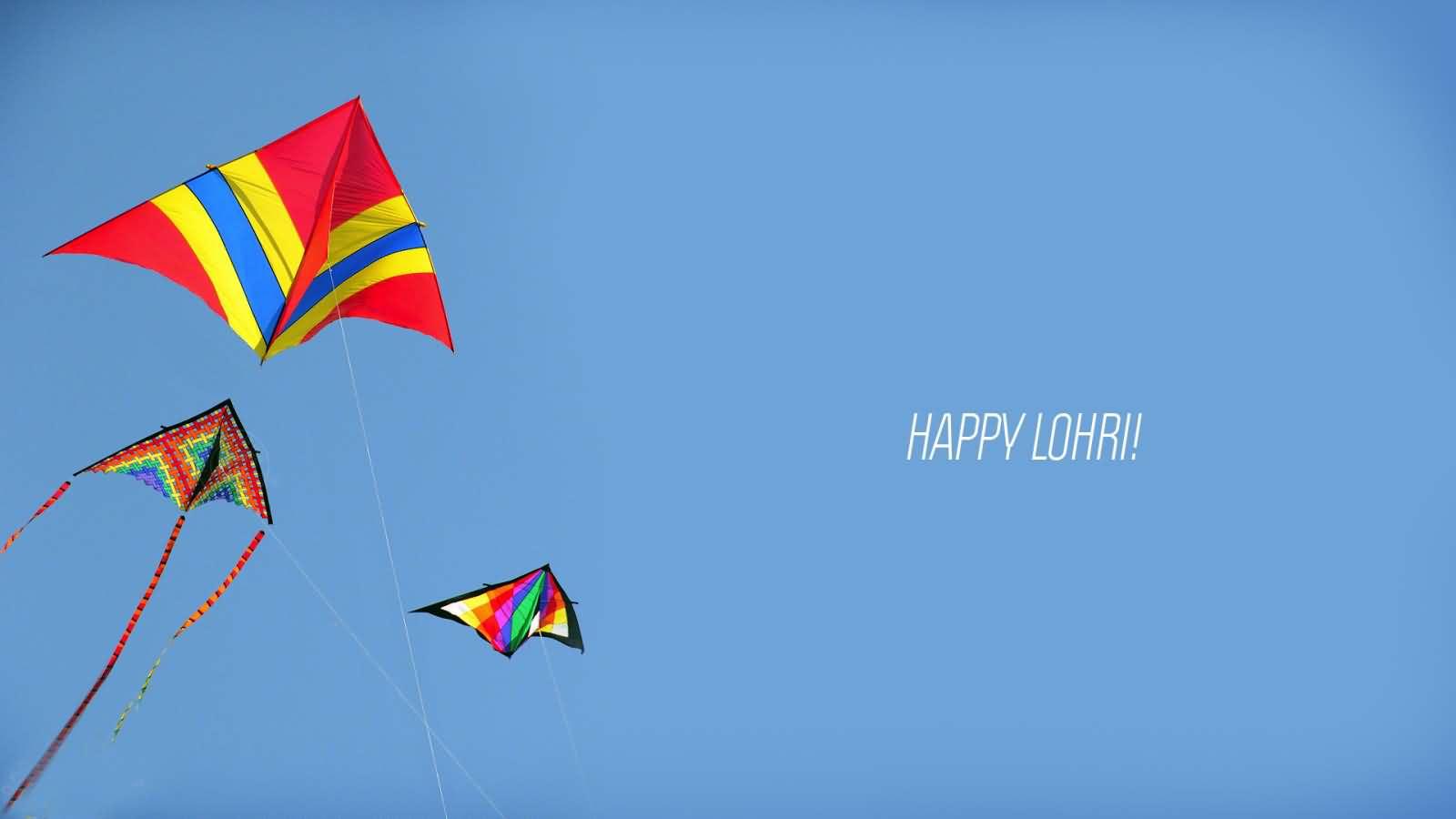 Happy Lohri Beautiful Kites In Sky