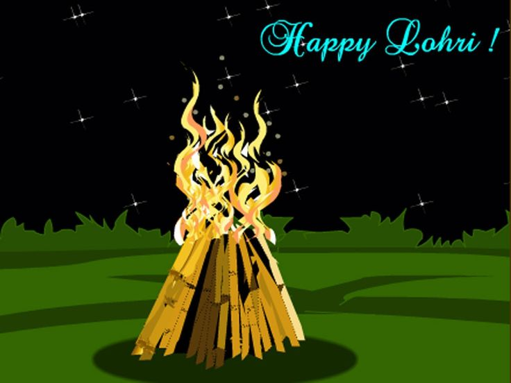 Happy Lohri Bonfire Clipart