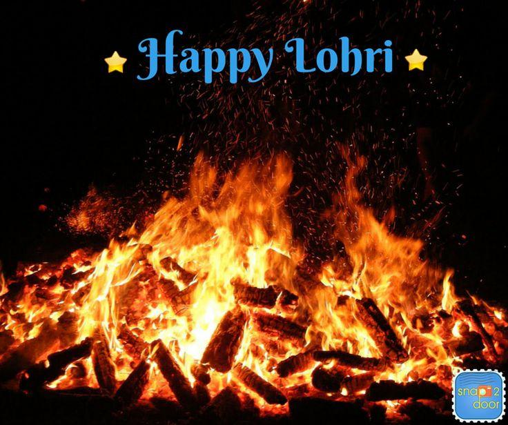 Happy Lohri Bonfire In Background