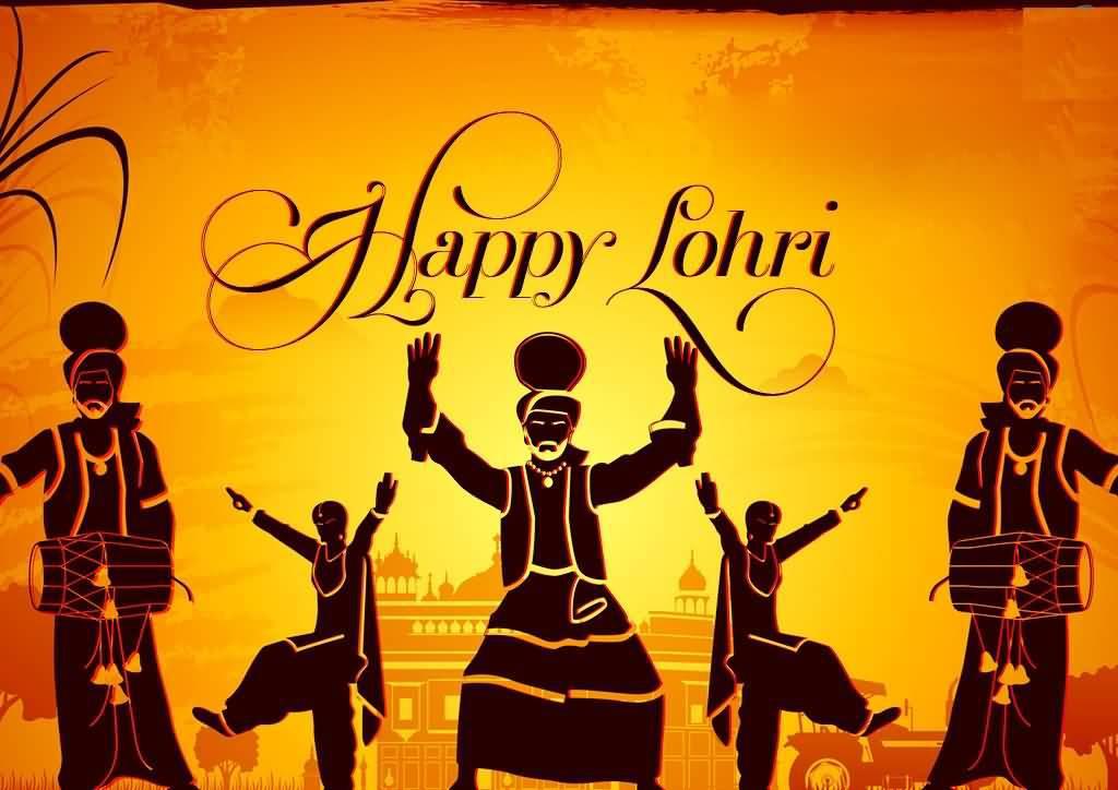 Happy Lohri Punjabi People Dancing In Background