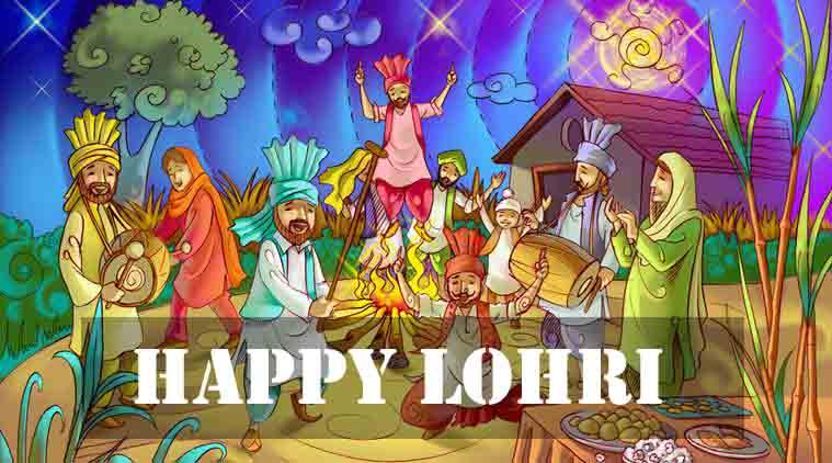 Happy Lohri Punjabi People Dancing Painting