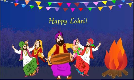 Happy Lohri Punjabi People Dancing