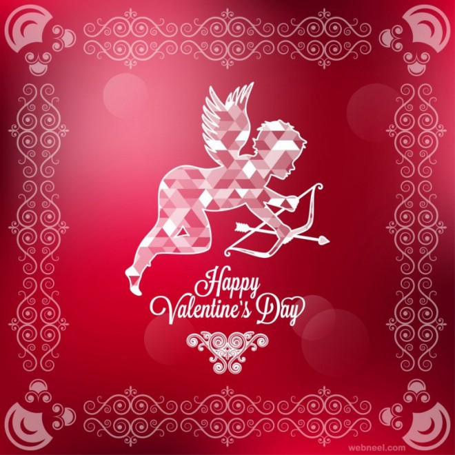 Happy Valentineu0027s Day Flying Cupid Card