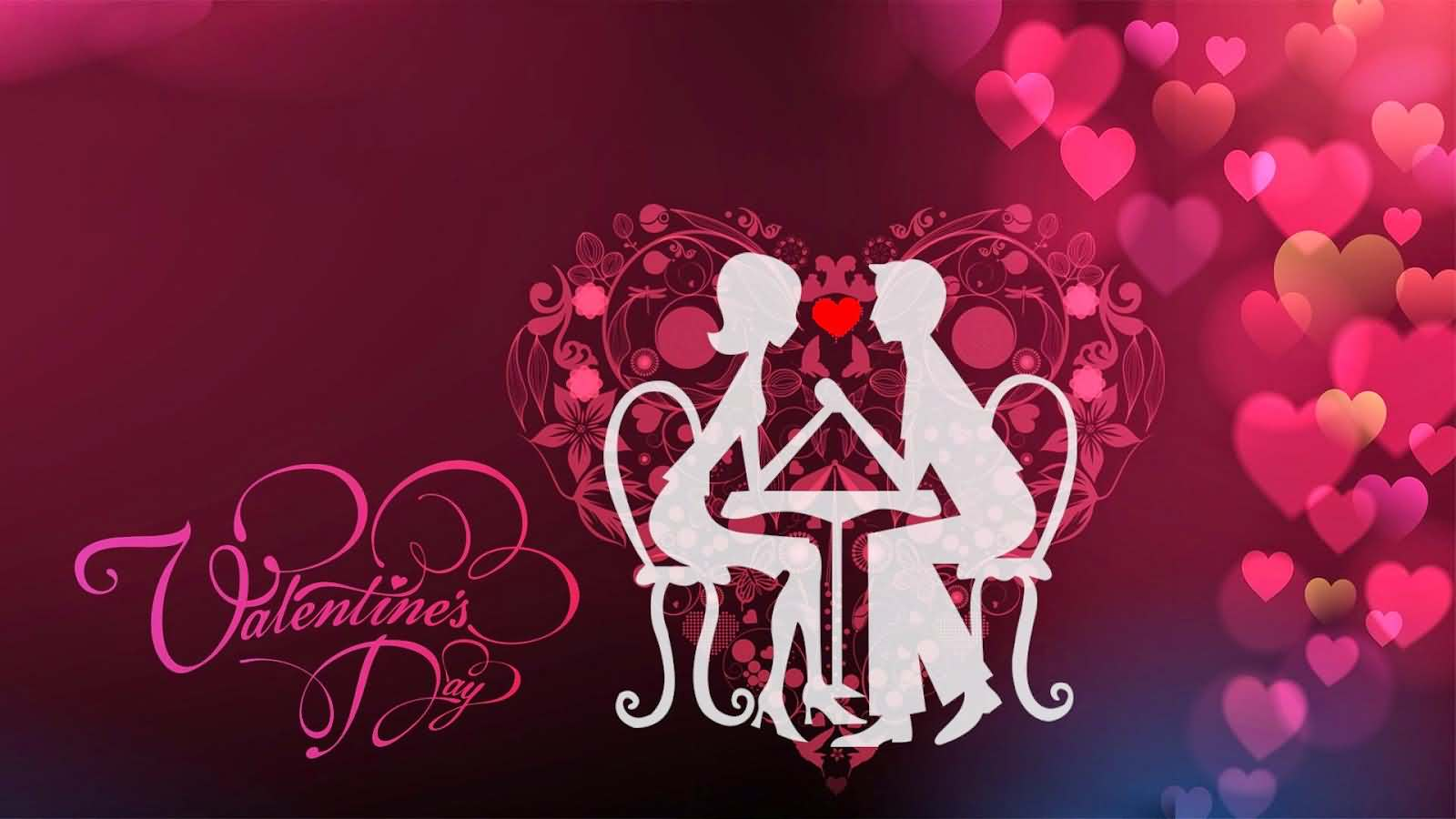 Happy Valentines Day Lovely Couple Heart Background Wallpaper