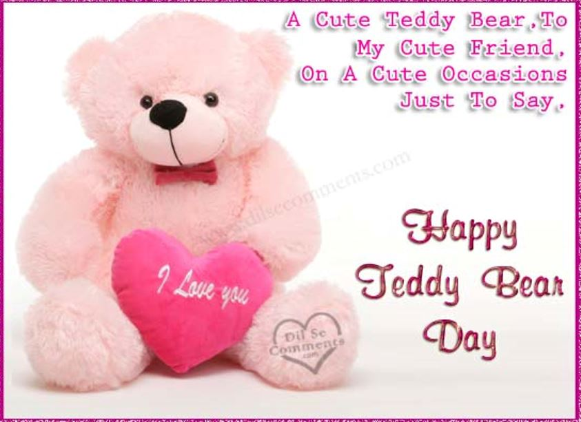 70 best teddy bear day wish pictures and images light pink teddy with love heart happy teddy bear day m4hsunfo